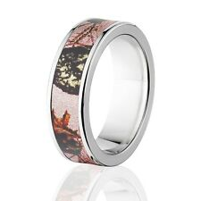 Camo Rings, Mens Camo Wedding Bands, Licensed Mossy Oak Pink Break Up Rings