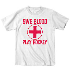 Give Blood Play Hockey Goalie Athletic Funny Sports Humor Novelty - Mens T-Shirt