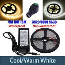 Waterproof 5/10/15M SMD 3528 5050 5630  LED Strip Light Warm/Cool White+Adaptor