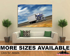 Wall Art Canvas Picture Print (Unframed) - Truck, Tractor Trailer in Motion