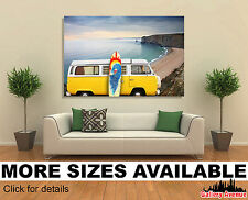 Wall Art Canvas Picture Print - VW Eurovan Van and Surf Board at Beach 3.2