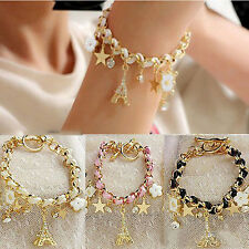 Fashion Charm Multielement Chain Leather Crystal Tower Bangle Bracelet