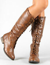 Knee High Mid Calf Lace Up Buckle Fashion Military Combat Womens Breckelles Boot