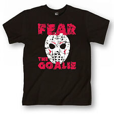 Fear The Goalie Funny Horror Ice Hockey Mask Retro Sports Novelty - Mens T-Shirt