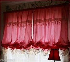 Rustic Chic Vintage French Provincial Romantic Red Checks Lace Curtains, Drapes