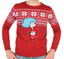 Adult Cartoon Book Dr. Seuss Thing 1 Is On The Run Tacky Ugly Christmas Sweater