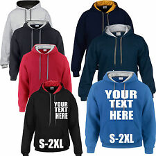 Mens Adult Personalised Plain or Custom Printed Gildan 2 Tone Heavy Hoodie Hoody