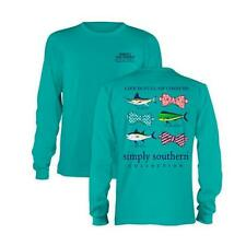 Long sleeve Simply Southern collection girlie girl Preppy Fish in Seafoam