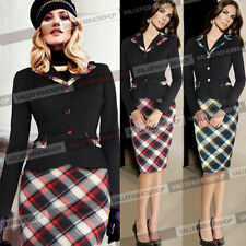 Women Elegant Tartan Colorblock Lapel Tunic Work Business Party Pencil Dress 158