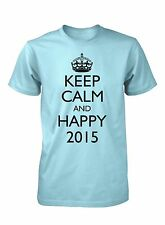 Keep Calm and Happy 2015 Funny T-Shirt for Men New Year's Eve Party Tee
