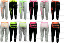 LADIES BOX USA SPORTS CASUAL TRACK CUFFED 3/4 CROP CROPPED JOGGERS JOG BOTTOMS