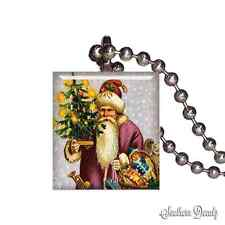 Christmas Tree Santa Gifts - Scrabble Tile Pendant Necklace Jewelry - P36