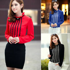 New Trendy Pullover Lace Trims Womens Blouse Shirt Top Detachable Collar Brooch