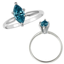 0.5 Carat Blue Marquise Diamond Solitaire Wedding Fancy Ring 14K White Gold