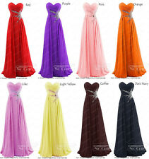 12 COLORS Long Formal Prom Ball Gowns Party Cocktail Evening Bridemaid Dresses