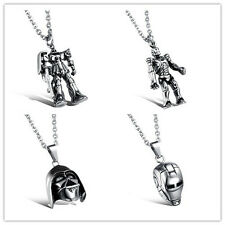 New Cool Mens Stainless Steel Transformers Lron Man Predator Pendent Necklace