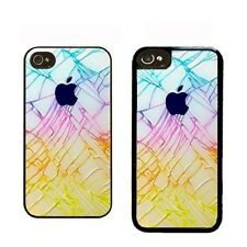 iPHONE 4 4S 5 5S 5C CASE RUBBER COVER CRACKED GLASS