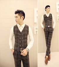 Men's Winter Stylish Plaid Checked Double Breasted Elegant Warm Vest Waistcoat
