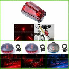 Bicycle Bike 5 Led Red Laser Beam Cycle Lights Safety Tail Rear Light Lamp