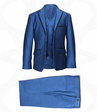 Boys 3PC Page Boy Tonic Blue Suits Wedding Party Prom Kids Piping Suit Outfit