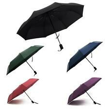 Unisex Business Large Strong Windproof Foldable Anti-UV Auto Umbrella Pure Color