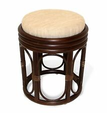 NEW!!! HANDMADE DESIGN WICKER VANITY STOOL WITH CUSHION NATURAL RATTAN FURNITURE