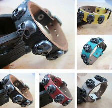 New Fashion Skull Belt Leather Cuff Bracelet Bangle Wristband Gothic Punk Wrap