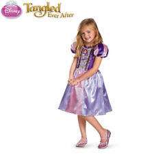 Disney Rapunzel Tangled Costume Girls Sparkle Dress Free Tiara, Wand S:3,4,5,6