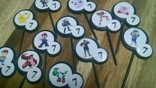 12ct SUPER MARIO SMASH BROS Cupcake Topper Food picks w/ Custom birthday age