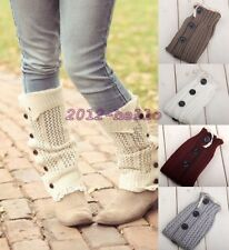 Women Knee High Knit Button Down Crochet Flat Lace Trim Leg Warmers Boot Socks