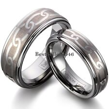 Men Womens Laser Link Celtic Knot Tungsten Carbide Ring Engagement  Wedding Band