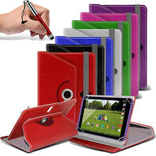 """360° Rotating Luxury PU Leather Spring Stand Case Cover+Pen Swivel - 8"""" Tablets"""