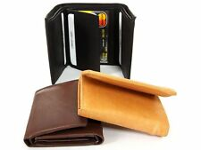Mens Leather 8 Credit Card 2 ID Window Holder Trifold Double Bill Wallet 3 Color