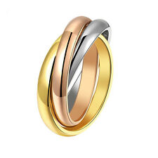 Triple Russian Interlocking Stainless Steel Wedding Band Ring 3-Tone from USA