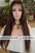 6A Indian Remy Human Hair Lace Front Wigs Black Silky Straight Glueless Full Wig