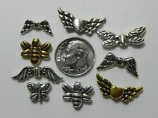 Tibetan Silver & Antique Gold Wing &  Winged Heart Spacer Beads Findings