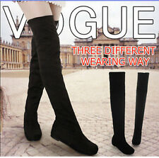 New fashion flat bottom boots shoes over the knee thigh high suede long boots ZZ