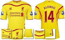 *14 / 15 - WARRIOR ; LIVERPOOL AWAY SHIRT SS + PATCHES / ALONSO 14 = SIZE*