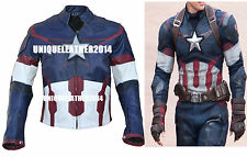 NEW CAPTAIN AMERICA CHRIS EVANS STEVE ROGERS BIKER LEATHER JACKET