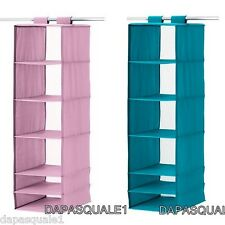 IKEA SKUBB - Closet Hanging Organizer With 6 Compartments Turquoise NEW