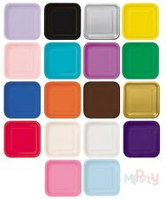"Square Paper Party Plates 7"" & 9"" Plain Solid Colours Tableware Catering Events"