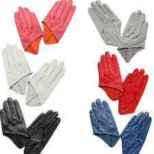 Women Winter Warm Leather Half Palm Gloves Driving Motorcycle Full Finger Gloves
