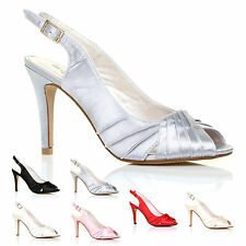 NEW PEEPTOE SATIN HEEL BRIDAL PROM PARTY BRIDESMAID SLING BACK SANDAL SHOES SIZE