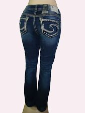 """New Silver Jeans SUKI 17"""" Mid-Rise Relaxed Hip Curvy Fit  Slim Bootcut 41207A"""