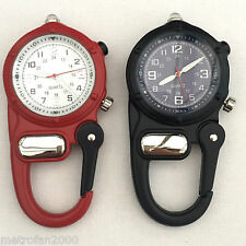 Carabiner Watch With LED Torch Clip On Belt Nurses Paramedic Doctors Pocket Fob