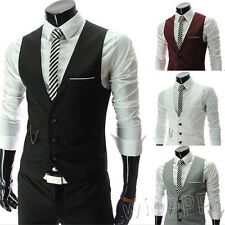Spring Fashion Men Slim Fit Formal Casual Dress Vest Suit Waistcoat Jacket Coats