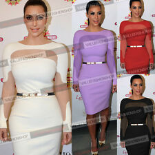 Women Celebrity Belted Mesh Club Evening Party Cocktail Bodycon Sheath Dress 931