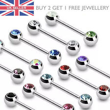 316L Surgical Steel Forward Facing Gems Nipple Bar Stud Ring - 12mm or 16mm - UK