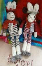 Flock of Ages Hand Knitted Long Legged Hare, Shropshire Sheep Wool, Natural Gift