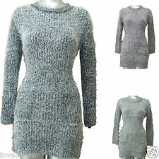 Neuf Femmes Long Robe Pull Tricot Doux Moelleux Cil Top Femme Taille 10-16 Nu